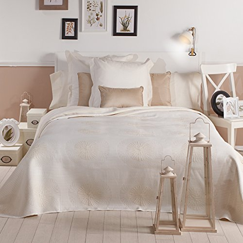 Sancarlos - Colcha decorativa seyer crema - doble tela - reversible - esquinas redondeadas