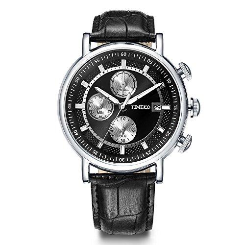 Time100 Orologio uomo cronografo pelle, movimento al quarzo#W80091G (Nero)