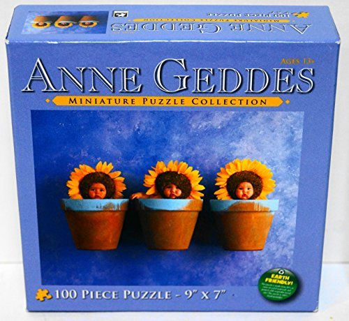 "Anne Geddes, Miniature Puzzle Collection Item #7700-7 - Sunflower Children in Garden Pots- 100 Piece Jigsaw Puzzle - 9"" X 7"""