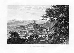 Badenweiler Gesamtansicht Freiburg Markgräflerland Original Stahlstich