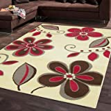 Large Modern Contemporary Nissa Rug Cream Brown Pink Rug