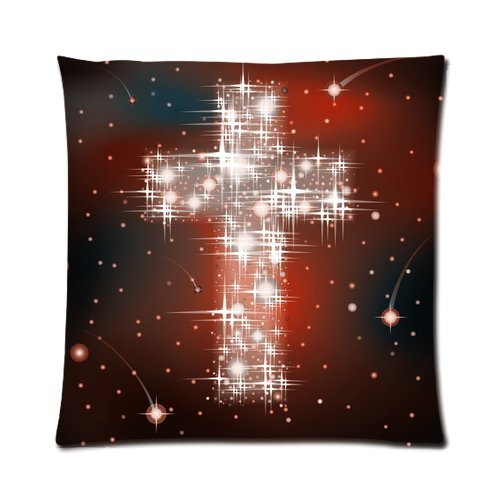 Home Decor Personalized Light Cross Art Picture Zippered Throw Pillow Cover Cushion Case 16X16 (One Side) front-1057792