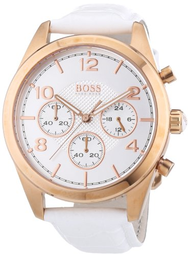 Hugo Boss 1502310 - Reloj analógico de cuarzo para mujer, correa de cuero color blanco