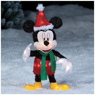 2 disney mickey mouse santa hat lighted christmas yard art decoration - Mickey Mouse Christmas Lawn Decorations