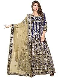 Kryptos Online Women Banglori Silk Semi Stitch Embroidery Anarkali Suit_KRYON-560-Isha-10701_Blue