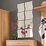 8 Stück Spiegelfliesen Spiegelkachel Fliesenspiegel Spiegel je 33x30cm in Wellenform Wanddekoration Wandspiegel