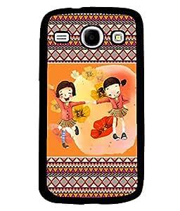PRINTVISA Girls are enjoying moment Premium Metallic Insert Back Case Cover for Samsung Galaxy Core - I8260 / I8260 - D5841