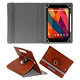KOKO ROTATING 360° LEATHER FLIP CASE FOR BSNL PENTA WS802C TABLET STAND COVER HOLDER BROWN