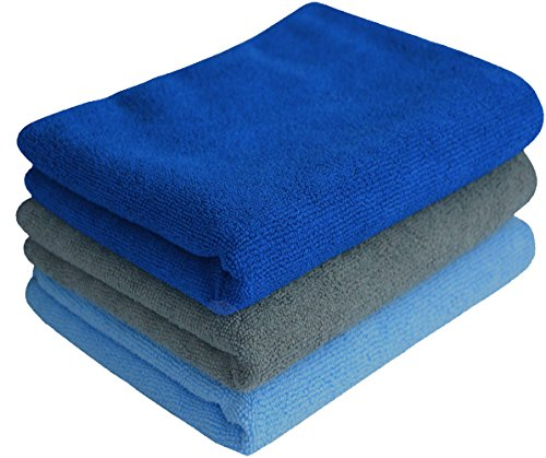 Simplife Microfiber Sports Travel Towels Super Absorbent Fast Drying Fitness Gym Towels Set Hand Workout Towel Bath Washcloths 3 Pack(Dark Blue+light Blue+grey,16 Inch X 32 Inch)
