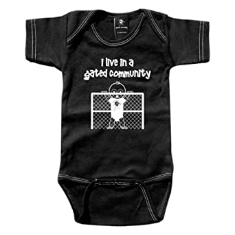 Rebel Ink Baby 381bo06 - I Live In A Gated Community - Black One Piece Undershirt - 0-6 Months