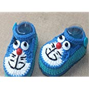Light Blue Hand-knitted Wool Baby Shoes Cartoon Baby Toddler Soft Shoes Double Sole One Hundred Days Baby Shoes... - B01A9QKP6S