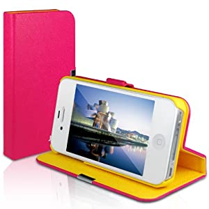 JETech® Diamond 2nd Edition iPhone 4 4S Case with Built-in Stand and Front/Back Protection for Apple iPhone 4/4S (Plum/Yellow)