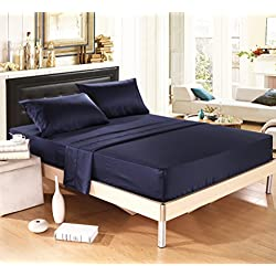 DelbouTree Bed Sheet Set,Soft Silky Matte Satin Bedding,Wrinkle,Fade,Stain Resistant,Deep Pocket,4 Piece,Navy Queen