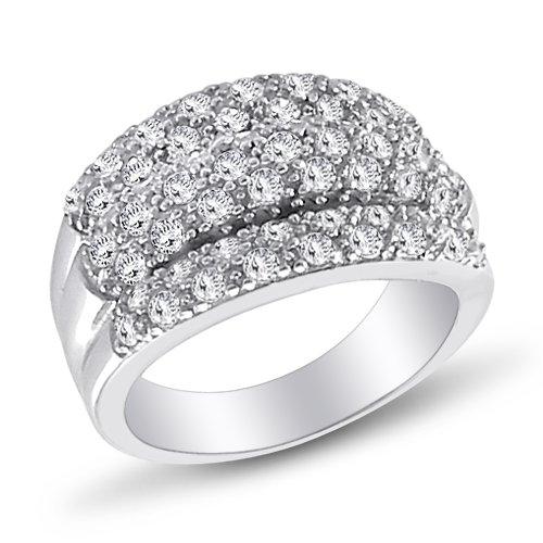 Fashion Anniversary Ring Wedding Band CZ Sterling Silver (0.90 Carat), Size 7
