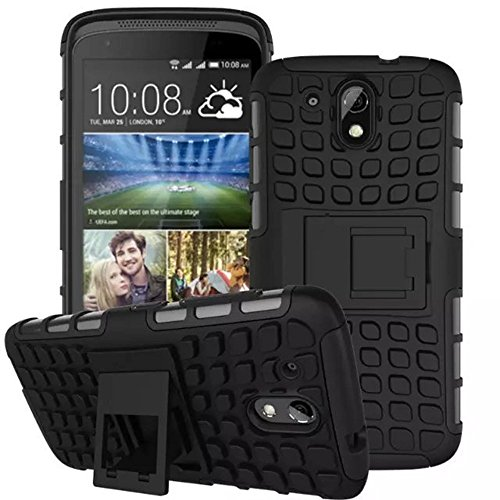 Real Shopping Flip Kick Stand Spider Hard Dual Rugged Armor Hybrid Bumper Back Case Cover For HTC Desire 526G+ dual sim - Rugged Black