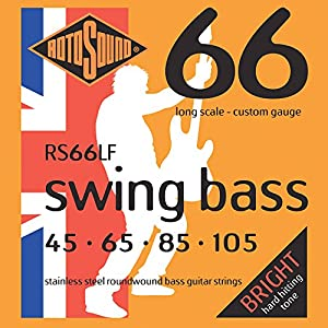 ROTOSOUND. RS66LF Swing Bass 66 Stainless Steel Bass Guitar Strings (45 65 85 105) from ROTOSOUND.