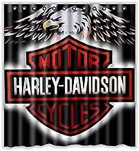 Custom Harley Davidson Logo Waterproof Bathroom Shower Curtain Polyester Fabric Shower Curtain Size