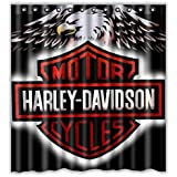 Custom Harley Davidson Logo Waterproof Bathroom Shower Curtain Polyester Fabric Shower Curtain Size 66 X 72