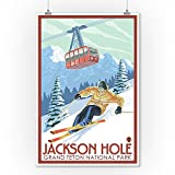 Wyoming - Jackson Hole Grand Teton Skiing (9x12 Art Print, Wall Decor Travel Poster)
