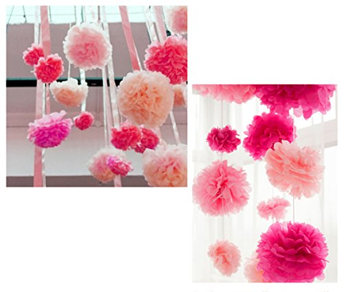 Super44day 15 pezzi 14in / 12In Tissue Paper Flowers Decorazione fiore di carta Balls, Carta velina Pom Poms, decorazione Wedding, decorazione del partito, Pompon fiori, (rosso, colore rosso, colore rosa)