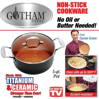Gotham Steel 5 Quart Stockpot Saucepan With Lid Home