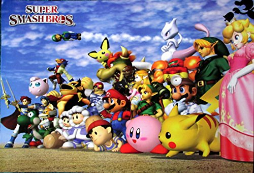 Super Smash Bros. blue bkgrnd horiz POSTER 21 x 14.5 Mario Pokemon Zelda video game sensation (sent FROM USA in PVC pipe) (Smash Brothers Poster compare prices)
