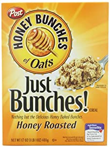 Honey Bunches of Oats Just Bunches! Honey Roasted Cereal, 17-Ounce Boxes (Pack of 4)