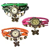Combo of 3 VB-310 Vintage Butterfly Orange + Pink + Green