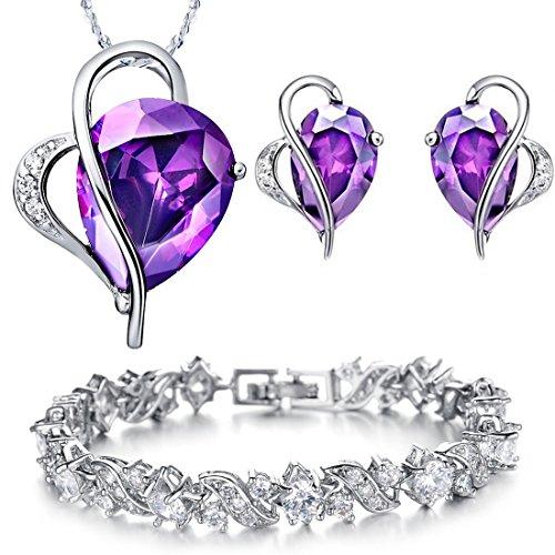 Kim-Johanson-Damen-Schmuckset-Purple-Love-Halskette-mit-Anhnger-Ohrringe-Armband-aus-925-Sterling-Silber-Edelstahl-mit-Zirkonia-Steinchen-besetzt-inkl-Schmuckbeutel