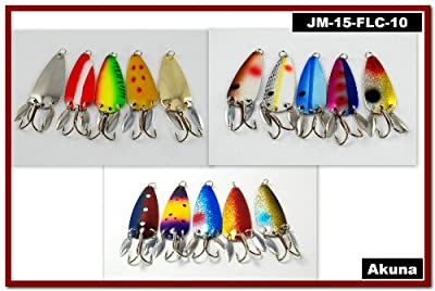 Akuna Hand Painted Holographic Fishing Lure With Two Flashy Side Spoons Pack Of 15 3-inch by Akuna