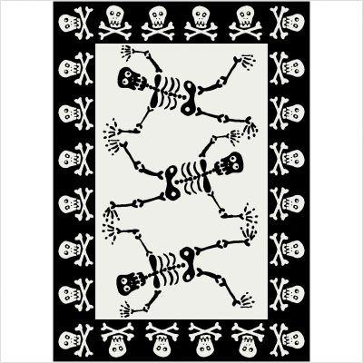 "Fall Seasonal Halloween Skeleton Black and White Rug Size: 3'10"" x 5'4"""