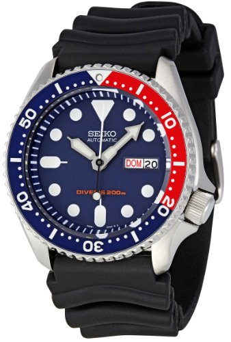 seiko-skx009k-1-5-divers-sports-mens-automatic-watch-analogue-dial-black-rubber-strap-blue-display