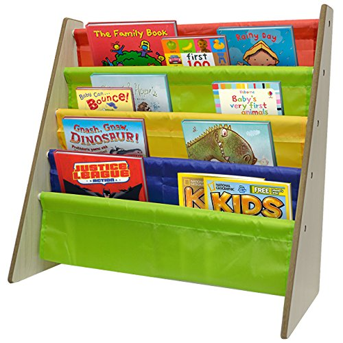 Sorbus Kids Bookshelf - Bright Primary Color Pockets Toddler Bookcase -Features Sling Pockets for Books & Toys-Great for Bedroom, Playroom, Book Store, Classroom, Toddler Gym, Daycare, etc (Natural) (Reading Table For Kids compare prices)
