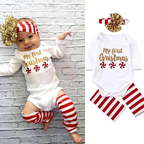 DaySeventh Newborn Baby Boy Girl Infant Romper Jumpsuit 3PC Festival Clothes Set (6M, White)