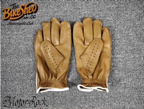 New Deerskin Leather Retro Vintage Motorcycle Gloves Riding Zipper Hole Brown 2