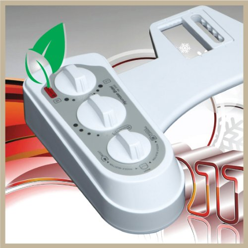 Hyundae Bidet HB-3000 Non-Electric Seat Attachment Hot/Cold Temperature Control Dual Nozzle with Nozzle Cleaning,