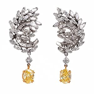 GIA 8.53ct Fancy Intense Diamond Platinum & Gold Drop Earrings