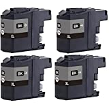4 BLACK XL LC123 / LC121 NEW VERSION 2 Chipped Ink Cartridges for Brother DCP-J132W DCP-J152W DCP-J552DW MFC-J650DW DCP-J752DW DCP-J4110DW MFC-J870DW MFC-J4410DW MFC-J4510DW MFC-J4610DW MFC-J4710DW MFC-J470DW Printers