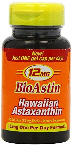 Nutrex Hawaii BioAstin Hawaiian Astaxanthin, 50 Gel Caps supply, 12mg Astaxanthin per Serving (One per Day Formula) Supports Skin, Eye and Cardiovas