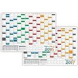 Rainbow Wandkalender gefaltet / Wandplaner 2016 + 2017 - DIN A2 Format (594 x 420 mm) mit 14 Monaten, kompletter Jahresvorschau 2018 und Ferientermine/Feiertage aller Bundesländer