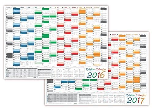 lysco Rainbow Calendario da parete/parete Planner 2016+ 2017-formato DIN A2(594x 420mm piegato) con 14mesi, anno Anteprima 2018e festivi/festività completo di tutti Länder