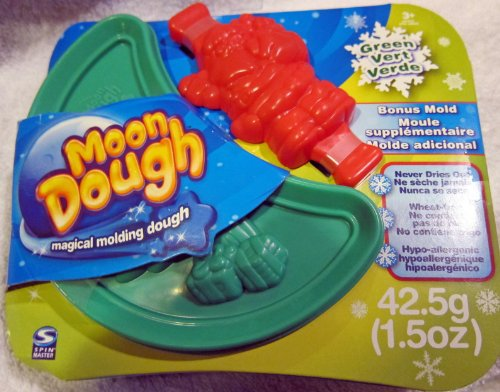 Moon Dough Magical Molding Dough, Green Presents with Bonus Red Santa Claus Mold - 1