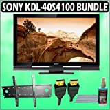 Sony Bravia S-Series KDL-40S4100 40-inch 1080P LCD HDTV and Accessory Outfit Outfit With Wall Mount