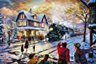 All Aboard for Christmas - Thomas Kinkade 18 x 27 Artist Proof limited edition framed canvas artwork