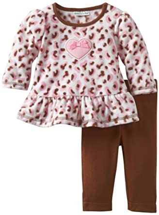 Babyworks Baby-Girls Newborn Micro Fleece Cheetah Clothing Set, Brown, 0-3 Months