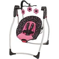 Graco Priscilla Comfy Cove Swing + Graco Priscilla Tote Diaper Bag with Changing Pad (Pink/Black)