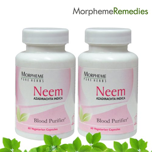 Morpheme Neem Supplements - Skin & System Purifier - 500Mg Extract - 60 Veg Capsules - 2 Combo Pack