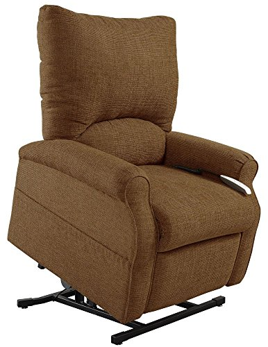 Mega Motion Easy Comfort Elk 3 Position Lift Chair Chaise Lounge Recliner - Pecan Color Fabric - White Glove Inside Delivery And Setup