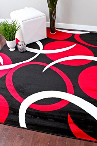 1062 Red Abstract Modern 3'9×5'4 Area Rug Carpet Black White Red