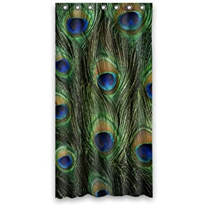 peacock feather shower curtain 36 x 72 with 7 hol
